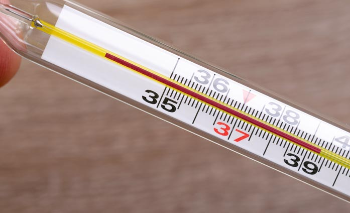 Use of mercury thermometer for arm